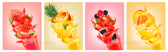 Set of Fruit Juice Splashes in Glass - Food Objects