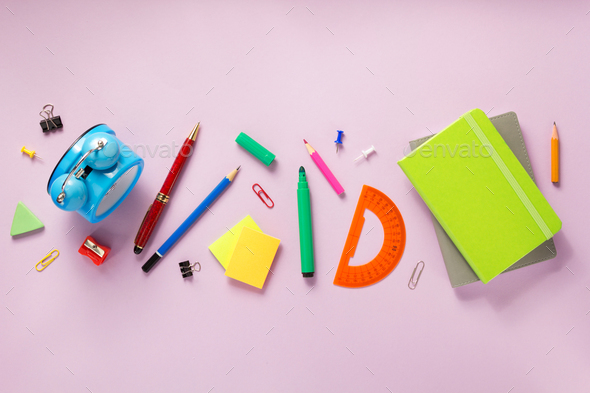 office supplies at abstract paper background - Stock Photo - Images
