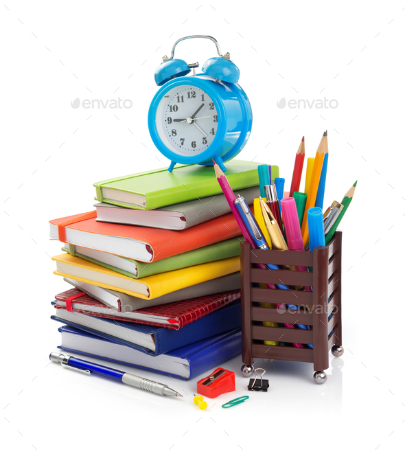 office and school supplies at white background - Stock Photo - Images