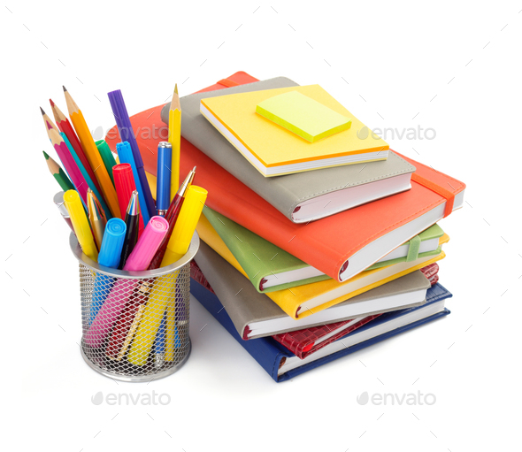 office and school supplies isolated at white background - Stock Photo - Images