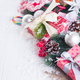 Christmas background with decorations and gift boxes on wooden board with copy space - PhotoDune Item for Sale