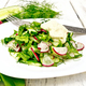 Salad with radishes and sorrel in plate on light board - PhotoDune Item for Sale