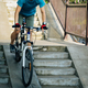 Riding bike going down the city stairs - PhotoDune Item for Sale