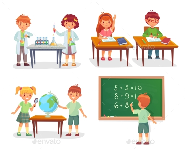 Kids on School Lesson - People Characters