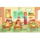 Pupils and Teacher in Classroom - GraphicRiver Item for Sale