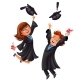 College Students Poster with Happy Graduates - GraphicRiver Item for Sale