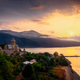 Scenic view of Ananuri fortress and lake at sunrise, Country of Georgia - PhotoDune Item for Sale