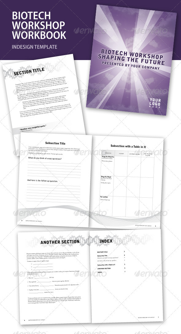 Biotech Workshop InDesign Workbook - Miscellaneous Print Templates