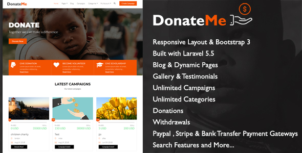 DonateMe - Crowdfunding Laravel Script - CodeCanyon Item for Sale