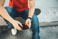 Skateboard using mobile phone  - PhotoDune Item for Sale