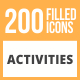 200 Activities Filled Round Icons - GraphicRiver Item for Sale