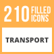210 Transport Filled Round Icons - GraphicRiver Item for Sale