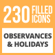 230 Observances & Holiday Filled Round Icons - GraphicRiver Item for Sale