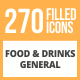 270 Food & Drinks General Filled Round Icons - GraphicRiver Item for Sale