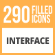 290 Interface Filled Round Icons - GraphicRiver Item for Sale
