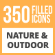 350 Nature & Outdoor Filled Round Icons - GraphicRiver Item for Sale