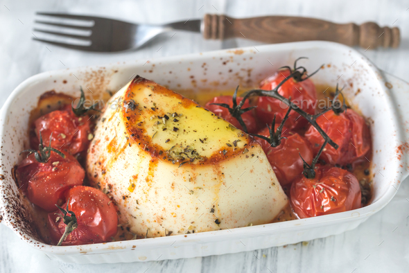 Baked ricotta with cherry tomatoes - Stock Photo - Images