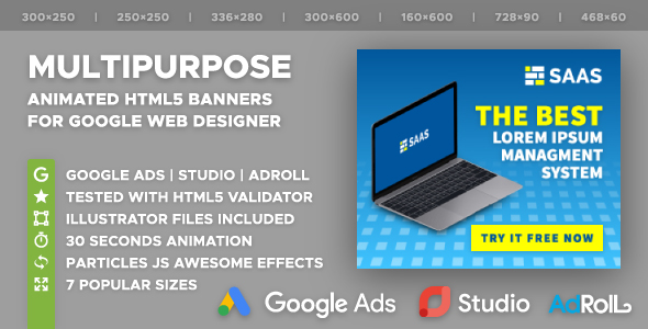 SAAS - Multipurpose Animated HTML5 Banner Ad Templates (GWD)            Nulled