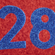 Number twenty-eight blue color over a red background. Anniversary. Horizontal - PhotoDune Item for Sale