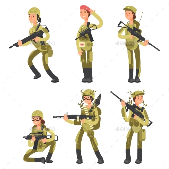Cartoon Characters Female Soldiers in Various - Miscellaneous Vectors