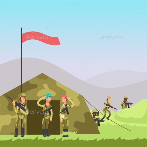 Military Vector Illustration. Cartoon Soldiers - Miscellaneous Vectors