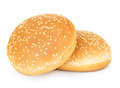 Two hamburger buns with sesame isolated on white background. - PhotoDune Item for Sale