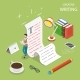 Flat Isometric Vector Concept of Creative Writing.