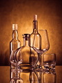 Whiskey, cognac and wine bottles with glasses - PhotoDune Item for Sale