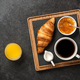 Breakfast with croissant, coffee, orange jam and juice - PhotoDune Item for Sale