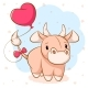 Cartoon Cow with Pink Balloon - GraphicRiver Item for Sale