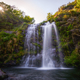 Sunbeans across the forest over a waterfall - PhotoDune Item for Sale