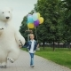 Happy Childhood with Your Favorite Toys, a Big White Bear Is Having Fun with a Child of 7 Years Old - VideoHive Item for Sale