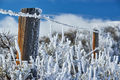 Landscape with hoarfrost on the fence - PhotoDune Item for Sale