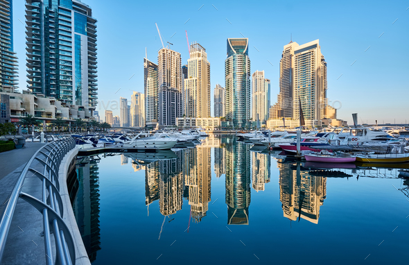 Dubai marina skyline in United Arab Emirates - Stock Photo - Images