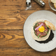 Raw veal tartare with sauce, quail egg and crouton - PhotoDune Item for Sale