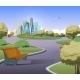 Vector Green Parkland with Trees in City - GraphicRiver Item for Sale