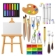 Artist Tools Vector Watercolor with Paintbrushes - GraphicRiver Item for Sale