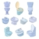 Toilet Bowl and Seat Vector Toiletries Flush