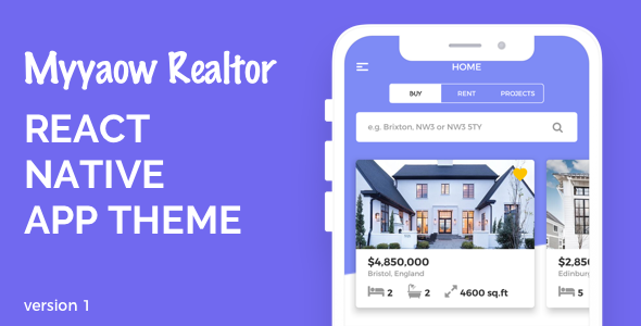 Myyaow Realtor - React Native Theme            Nulled