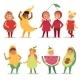 Kids Children Party Fruits Costume Vector Cartoon