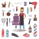 Barbershop Hairdresser Beard Hipster Man Vector