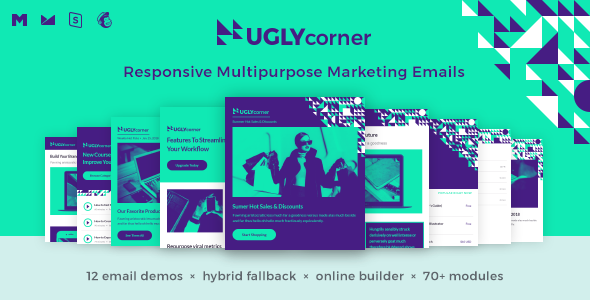 UglyCorner - Responsive Multipurpose Marketing Emails + Online Builder + Hybrid Fallback + 3 Themes - Email Templates Marketing