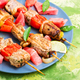 Shish kebab with watermelon garnish - PhotoDune Item for Sale