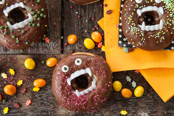 Scary Halloween donuts - Stock Photo - Images