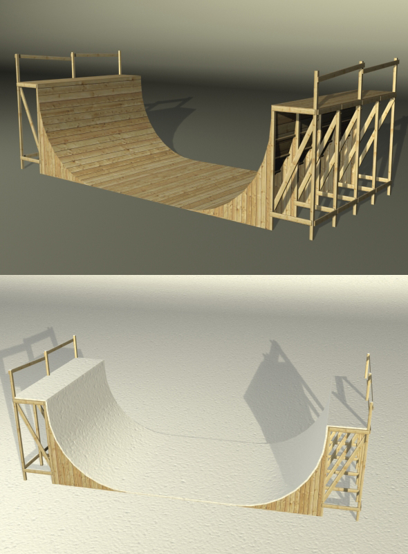 Wooden Halfpipe - 3DOcean Item for Sale