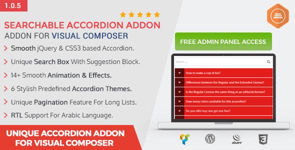 Ultimate Searchable Accordion - Visual Composer Addon - CodeCanyon Item for Sale
