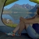 Happy Woman Sitting in a Tent - VideoHive Item for Sale