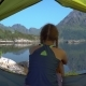 Happy Girl Sitting in a Tent - VideoHive Item for Sale