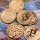 Bitcoin btc crypto currency coin over swiss francs bank notes - PhotoDune Item for Sale