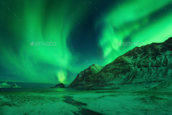 Winter landscape with northen lights in Norway - Stock Photo - Images